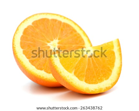 orange slices on white background  - stock photo