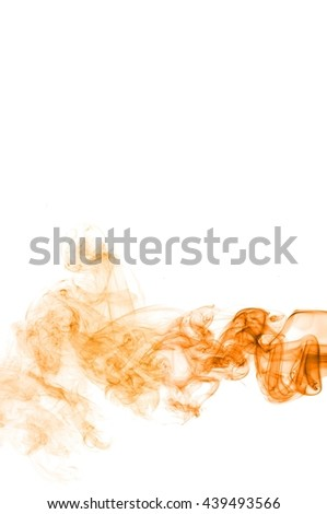 orange smoke swirl  on white background, Color smoke on white background