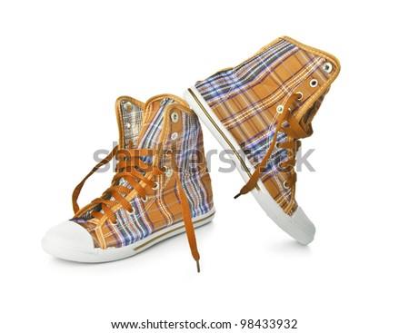 Orange Sneakers on white background - stock photo