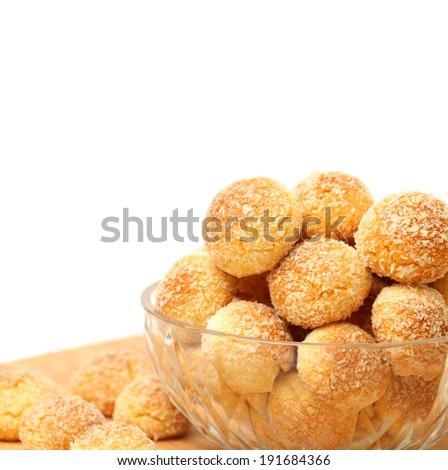 orange snowball cookies on the white background  - stock photo