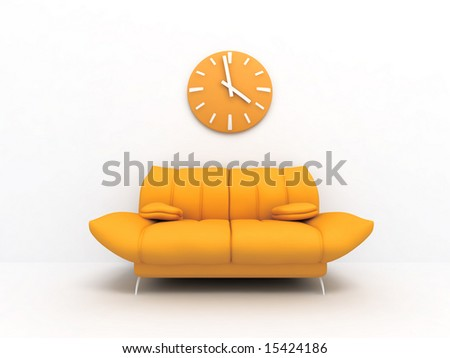 Orange sofa and clock in modern interior of a light living room - stock photo