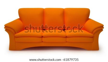 Orange sofa isolated on white background - stock photo