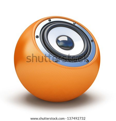 Orange sphere speaker - stock photo