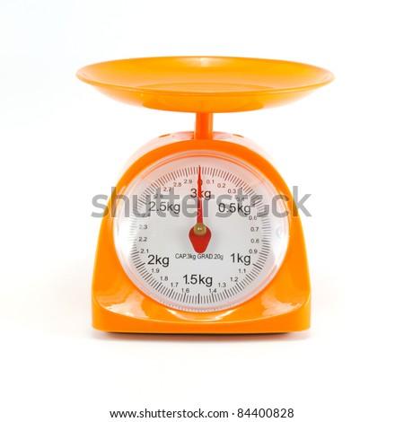 orange steelyard isolated on white background - stock photo