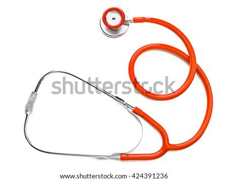 Orange stethoscope isolated on white - stock photo