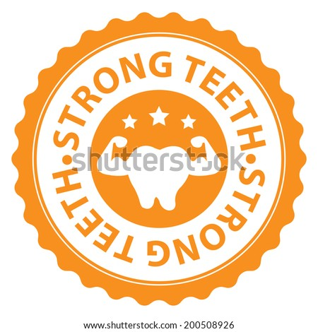 Orange Strong Teeth Icon, Sticker, Badge or Label Isolated on White Background - stock photo
