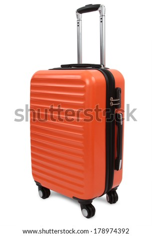orange suitcase isolated on white background - stock photo