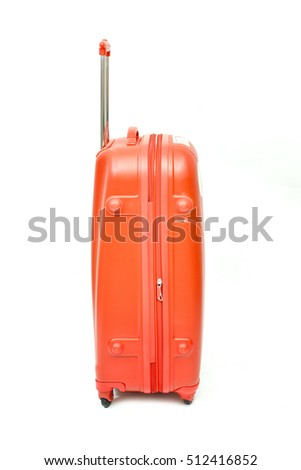 orange suitcase isolated on white background