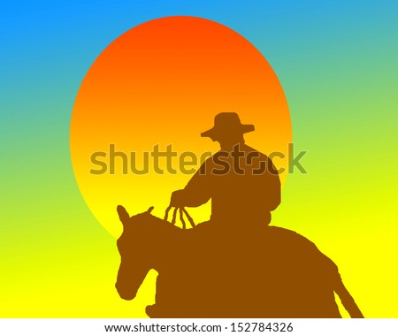 Orange sun and silhouette of cowboy.Sunset Cowboy/Illustration depicting cowboy riding into the setting sun - stock photo