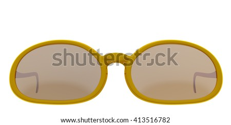 Orange sun glasses isolated on white background. Include clipping path. 3D render - stock photo