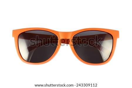 Orange sun glasses isolated over the white background - stock photo