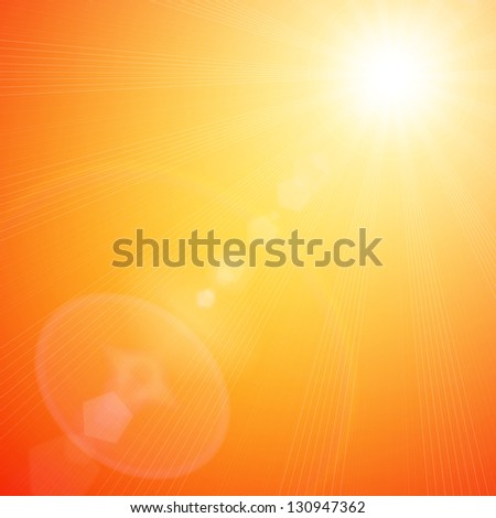 Orange sunny spring background with place for text