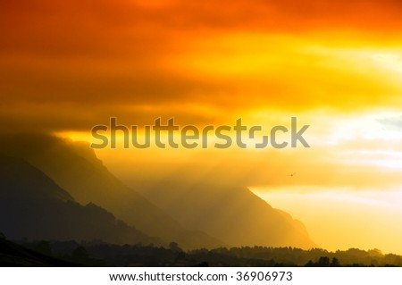 Orange sunset with rays of light - stock photo