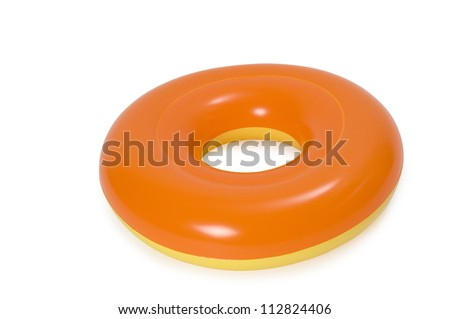 Orange swimming ring or life bouy on a white background. Clipping path included. - stock photo