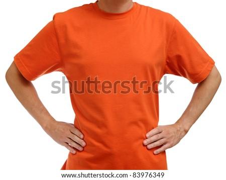 Orange t-shirt on young man isolated on white background - stock photo
