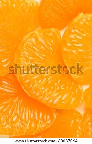 Orange tangerine mandarin slice Peeled  mandarine background - stock photo