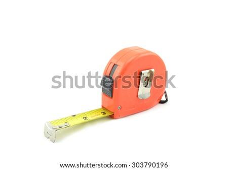 orange tape measure isolated white background - stock photo
