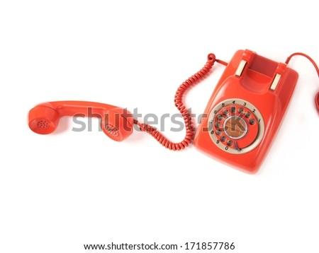orange telephone  - stock photo