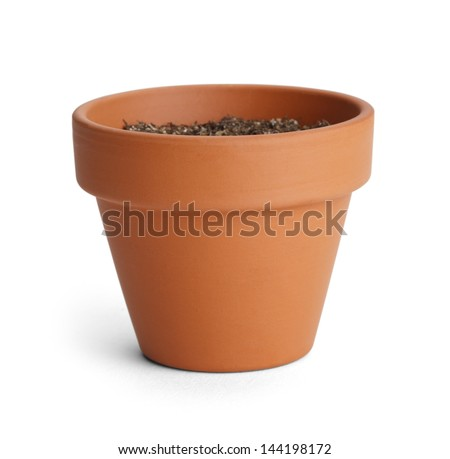 Orange Terracotta Pot with Soil Isolated on White Background. - stock photo