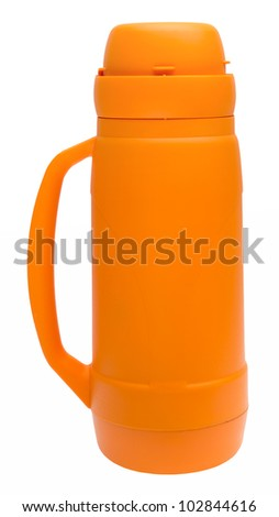 Orange thermos flask with clipping path - stock photo