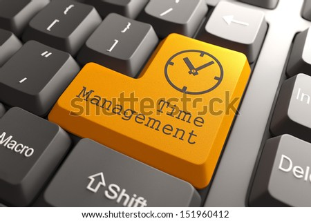 Orange Time Management Button on Computer Keyboard. Business Concept. - stock photo
