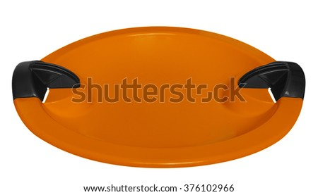 Orange toboggan isolated on the white background. Clipping path included.