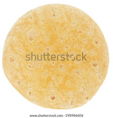orange tomato tortilla, from above isolated on white