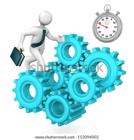 Orange toon with colorful gears and stopwatch. White background. - stock photo