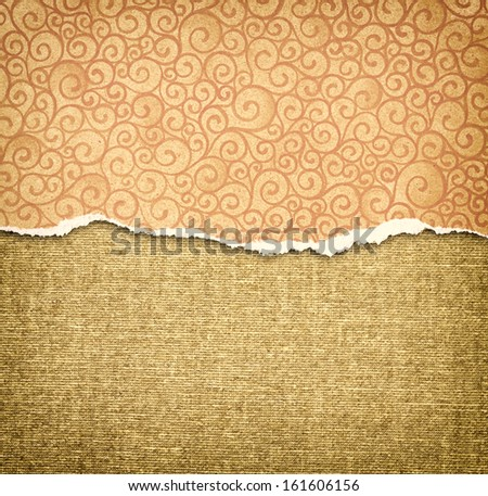 orange torn paper edge with pattern over canvas background  - stock photo