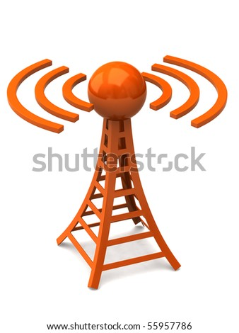 Orange tower with radio waves - stock photo