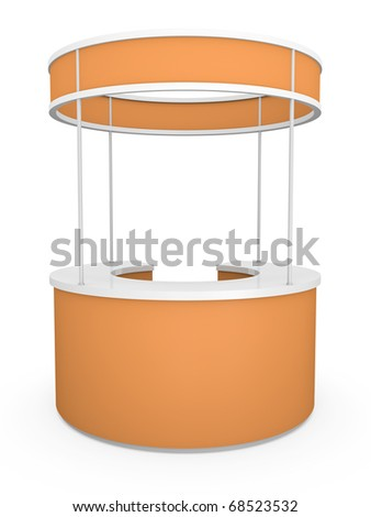 Orange trade stand. 3D rendered illustration. - stock photo