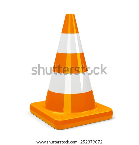 Orange traffic cone on a white table represents work in progress, three-dimensional rendering - stock photo
