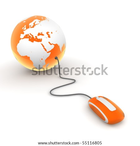 orange translucent computer mouse connected to a orange glossy globe - stock photo
