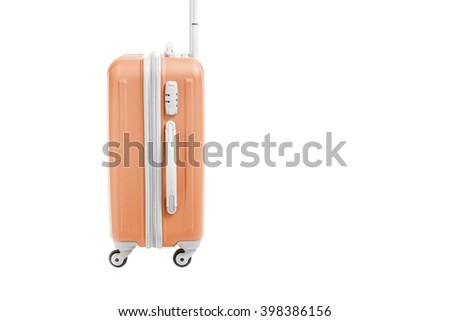 orange travel bag isolated on white background - stock photo