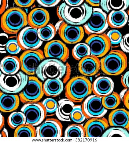 Orange Turquoise Colorful Geometric Circle Abstract Forms Background