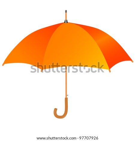 Orange umbrella icon - stock photo