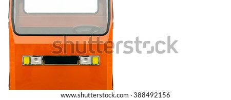 Orange utility vehicle with negative space on the right, on white background - stock photo