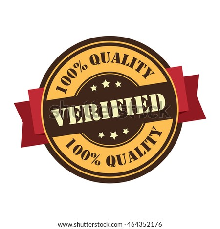 Orange Verified 100% Quality Product Information Infographics Icon or Label Isolated on White Background