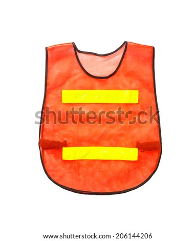 Orange vest, isolated on white and clipping path - stock photo