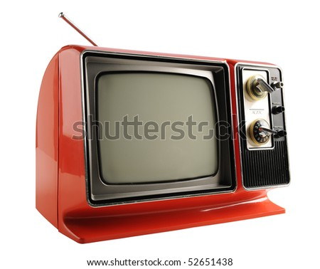 Orange vintage television from the 1970s - With clipping path - stock photo
