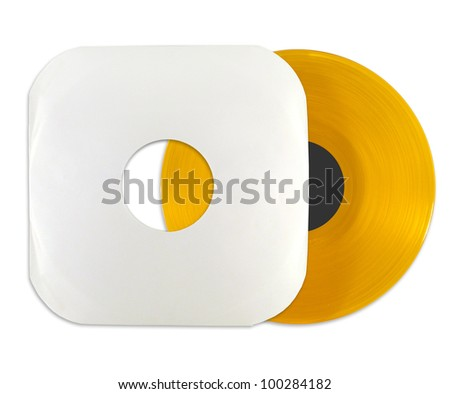 Orange vinyl record with cover isolated on white background - stock photo