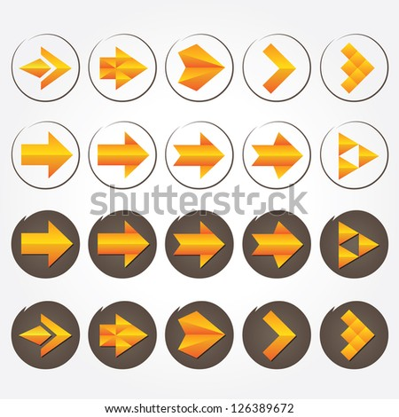 Orange volumetric arrows (collection). Different styles. Colorful arrow signs icon set.