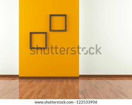 orange wall with frame - stock photo