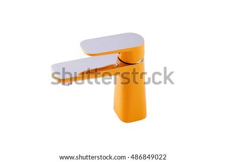 Orange Water Faucet On White Background Stock Photo 486849019 ...