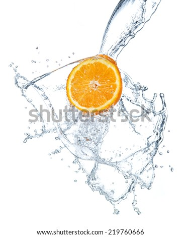 orange water splash - stock photo