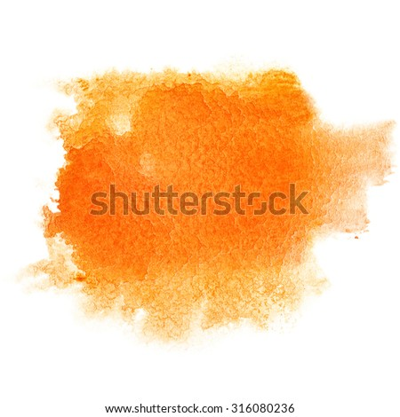 Orange watercolor brush stroke isolated over the white background