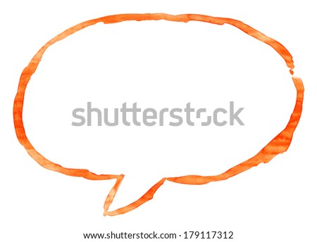 Orange watercolor empty speech bubble sign. Empty oval dialog shape isolated on white background. Aquarelle template backdrop created in handmade technique on paper material - stock photo