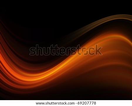 Orange waves on black background, abstract illustration - stock photo