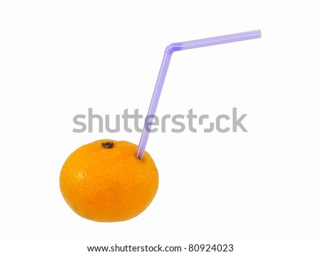 Orange with a Drinking Straw - stock photo