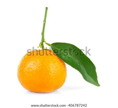 Orange with green leaf, isolated on white - stock photo